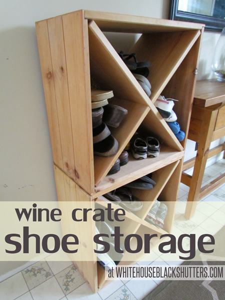 shoe storage ideas - divided wine crate for shoes, White House Black Shutters