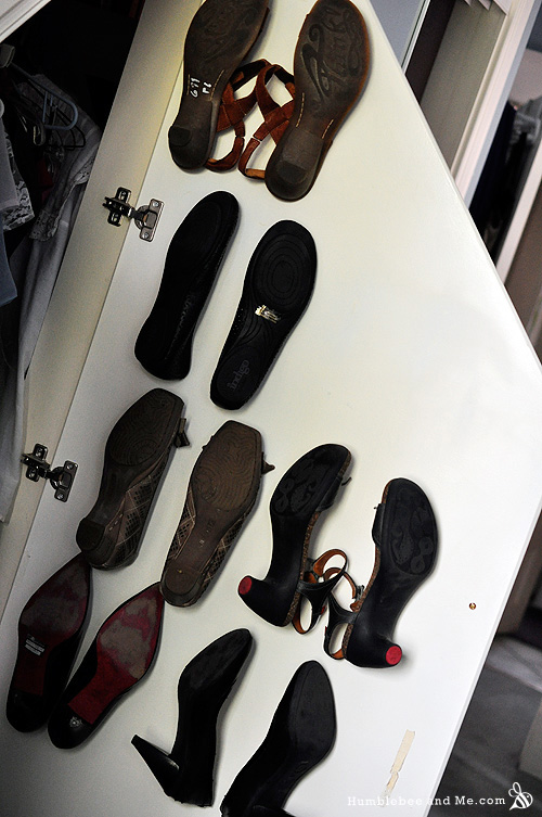shoe storage ideas - hooks on a door to hold sandals, Humble Bee and Me