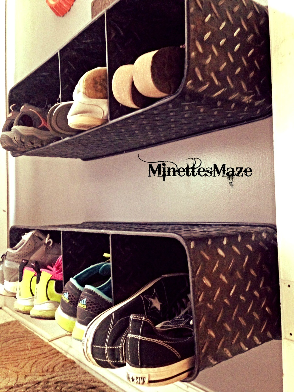 Top ten shoe storage ideas and link party construction for Diy wall shelves for shoes