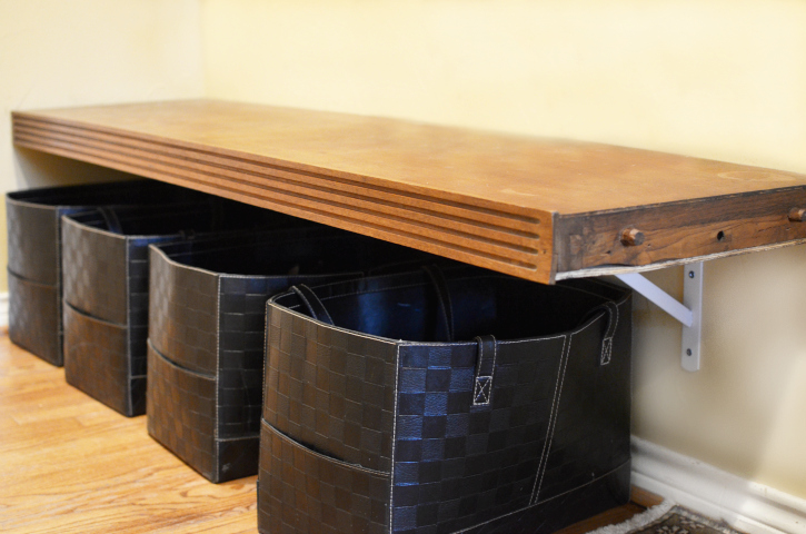 Shoe Storage Ideas   Mudroom Bench From Old Dresser, Itu0027s Overflowing