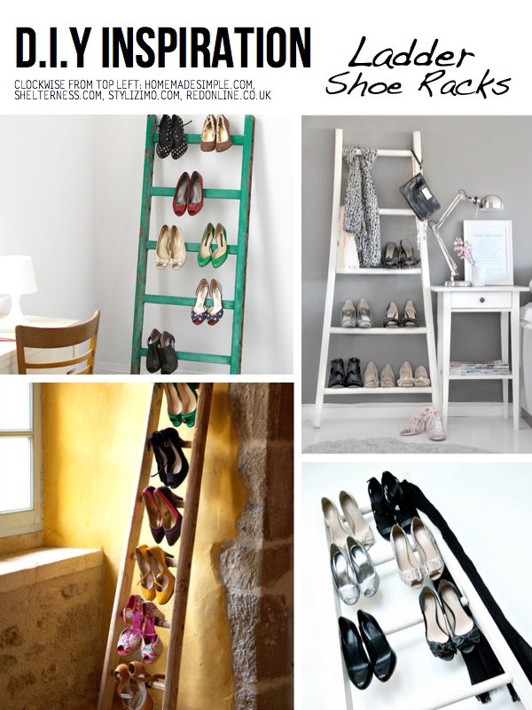 shoe storage ideas use a ladder to hold shoes via scraphacker