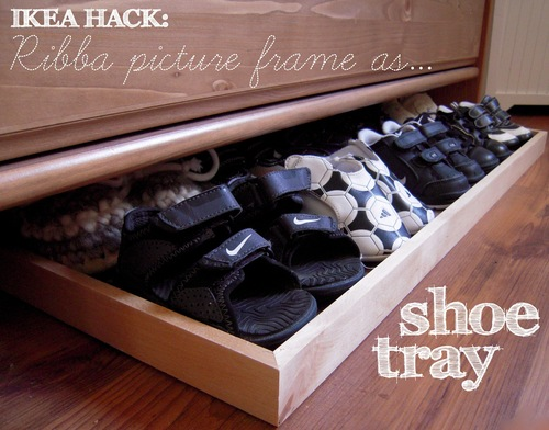 shoe storage ideas - use a photo frame to hold and store kids shoes, Justine Taylor