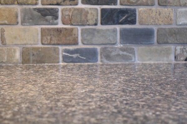 small kitchen remodel, slate tile backsplash and laminate countertop