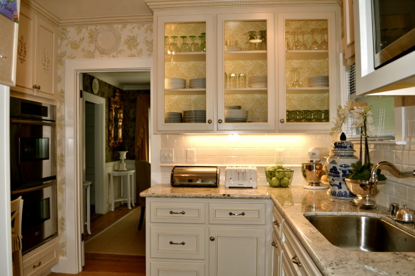 Small kitchen remodel featuring slate tile backsplash for Kitchen remodel images