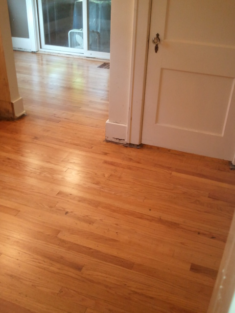 small kitchen remodel with refinished floors