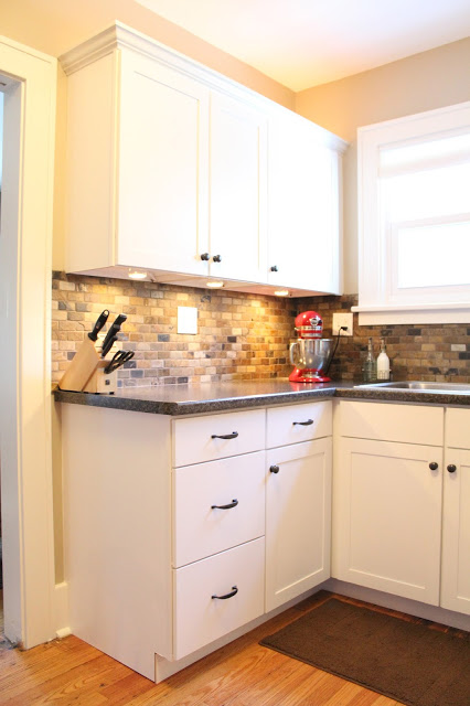 Kitchen Renovation Backsplash small kitchen remodel, featuring slate tile backsplash | remodelaholic