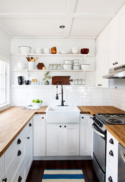 small kitchen with butcher block counter and open shelves, Smitten Studio