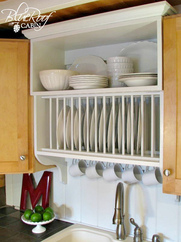 ... Update Builder Grade Kitchen Cabinets With A Plate Rack Cabinet And  Storage Shelf And Crown Molding ...