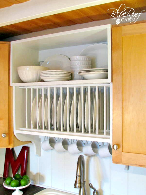 update builder grade kitchen cabinets with a plate rack cabinet and storage shelf