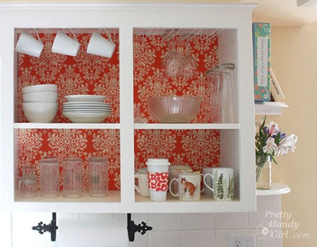 upgrade open cabinet by adding fabric to the back, Pretty Handy Girl