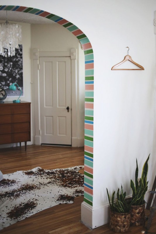 washi tape home decor - decorate arch or doorway, A Beautiful Mess