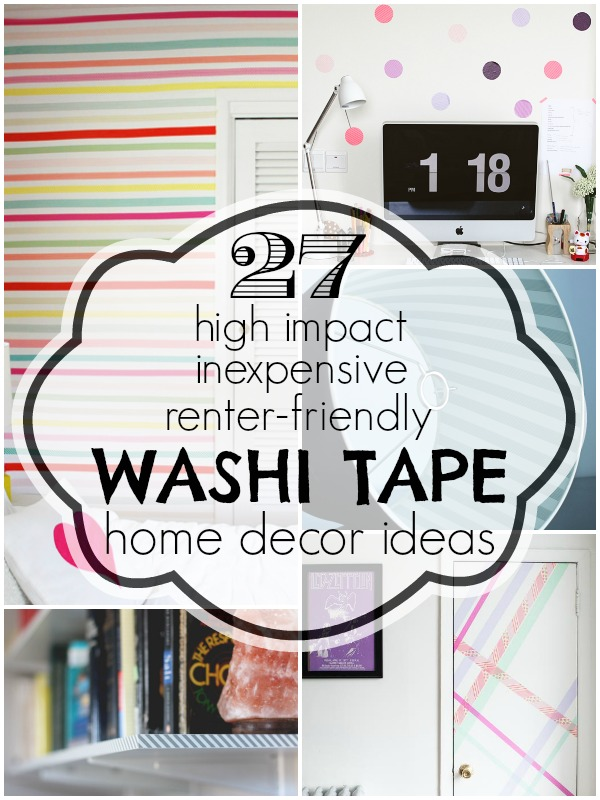Washi Tape Home Decor Ideas | Remodelaholic.com #washitape #homedecor  #renterfriendly @