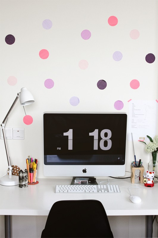 washi tape home decor - polka dot accent wall, Fellow Fellow