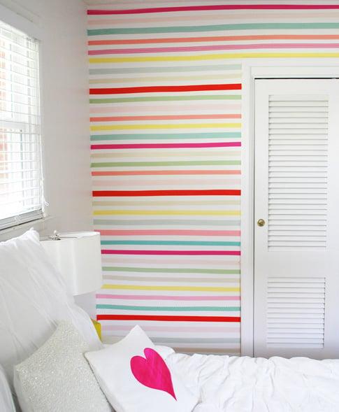 washi tape home decor - striped washi tape wall, Anne Kelle