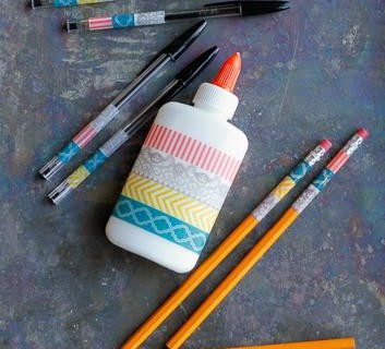 washi tape school supplies via Tipsaholic