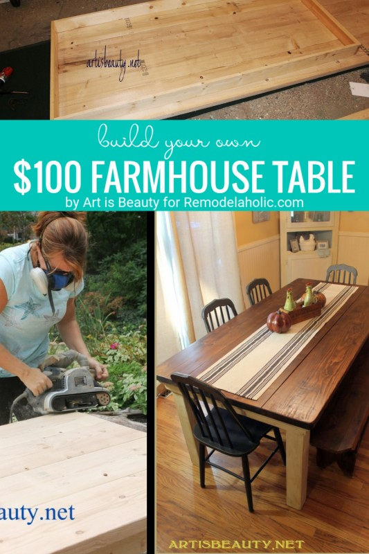Farmhouse Table DIY On A Budget By Art Is Beauty Featured On Remodelaholic.com