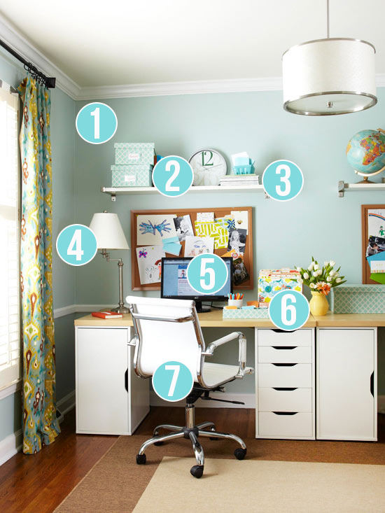 home office wall. Get This Look - 7 Tips For Easy Home Office Organization Via Remodelaholic.com Wall M