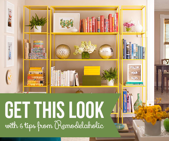 Get This Look: Stylish Library of Open Shelving | 6 Tips for Chic Open Shelves from Remodelaholic.com #getthislook #bookshelves #style #tips