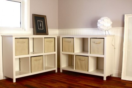 Land of Nod knock-off bookcase, The Friendly Home and Ana White via Remodelaholic.com