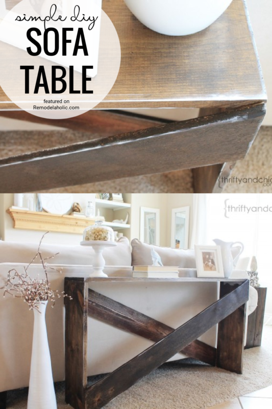 Simple DIY Sofa Table And Instructions Featured On Remodelaholic.com