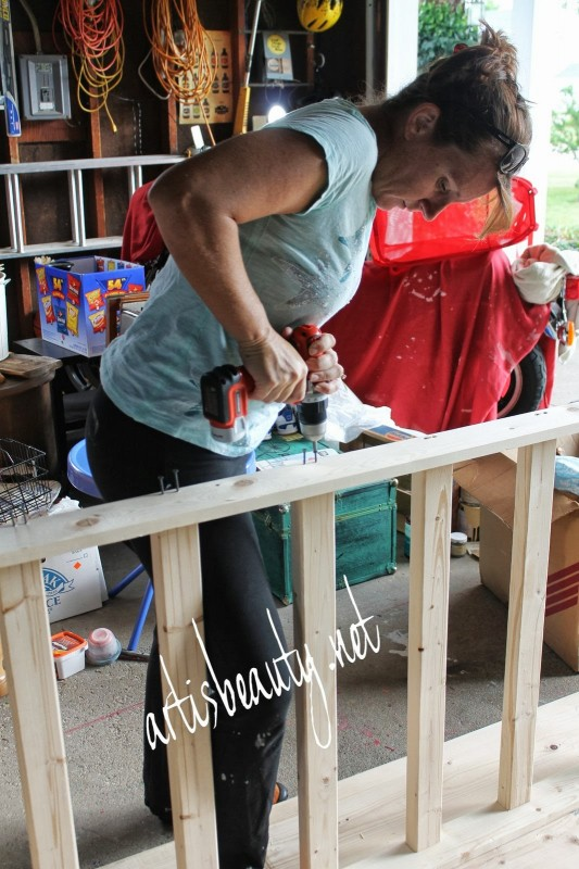 attach support braces to a diy farmhouse table, featured on Remodelaholic.com