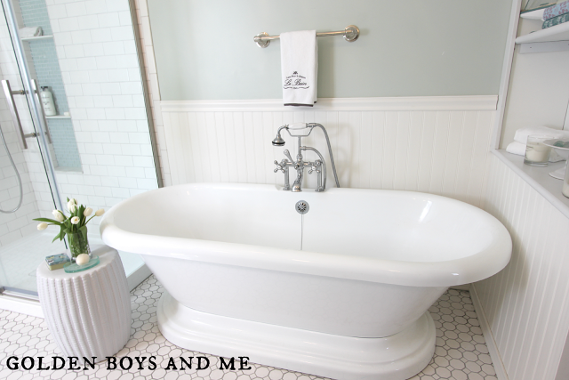 Bathtub In Elegant Master Bath Remodel Featured On Remodelaholic