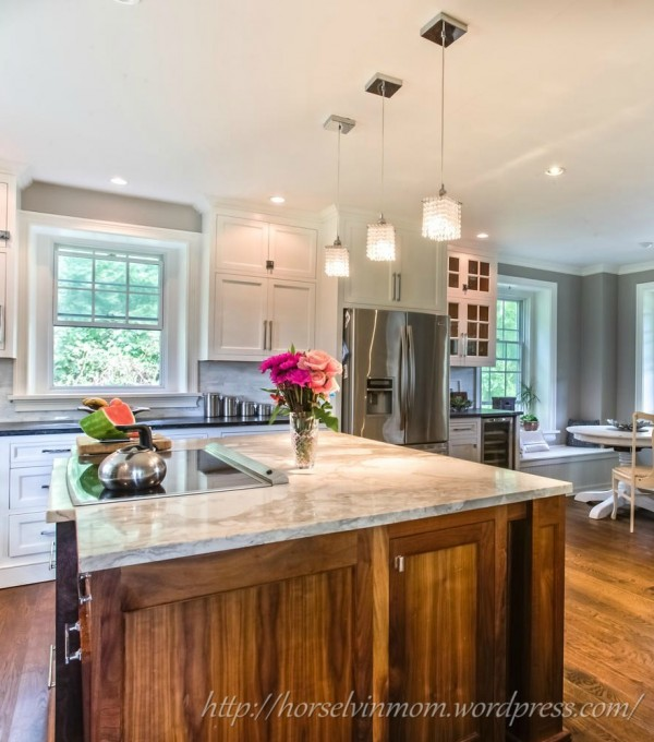 Chic White Country Kitchen Remodel | Stable Living featured at Remodelaholic.com #kitchen #remodel #marble #soapstone @Remodelaholic