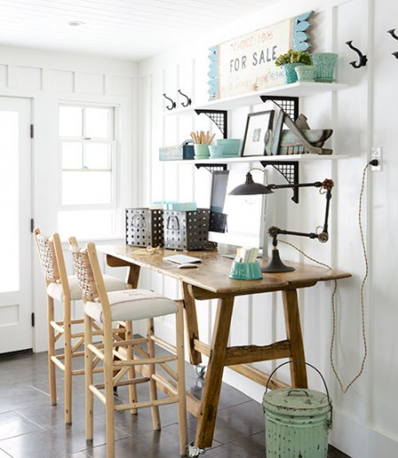 board and batten home office with wall shelving, Country Living via Remodelaholic