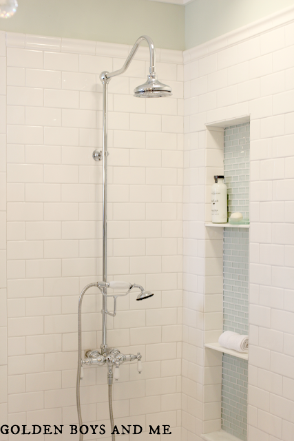 built in tub and shower. built in shower niche elegant master bath remodel  featured on Remodelaholic com Elegant Master Bath Remodel with Built Shelving