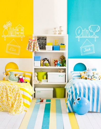 colorful shared bedroom, Maree Homer - featured on Remodelaholic.com