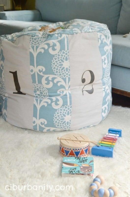 Copycat Land of Nod Floor Pouf Tutorial   Ciburbanity featured on Remodelaholic.com #copycat #knockoff #LandofNod #floorpouf #sewing