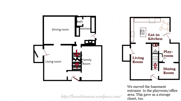 country kitchen remodel floor plan, featured at Remodelaholic.com