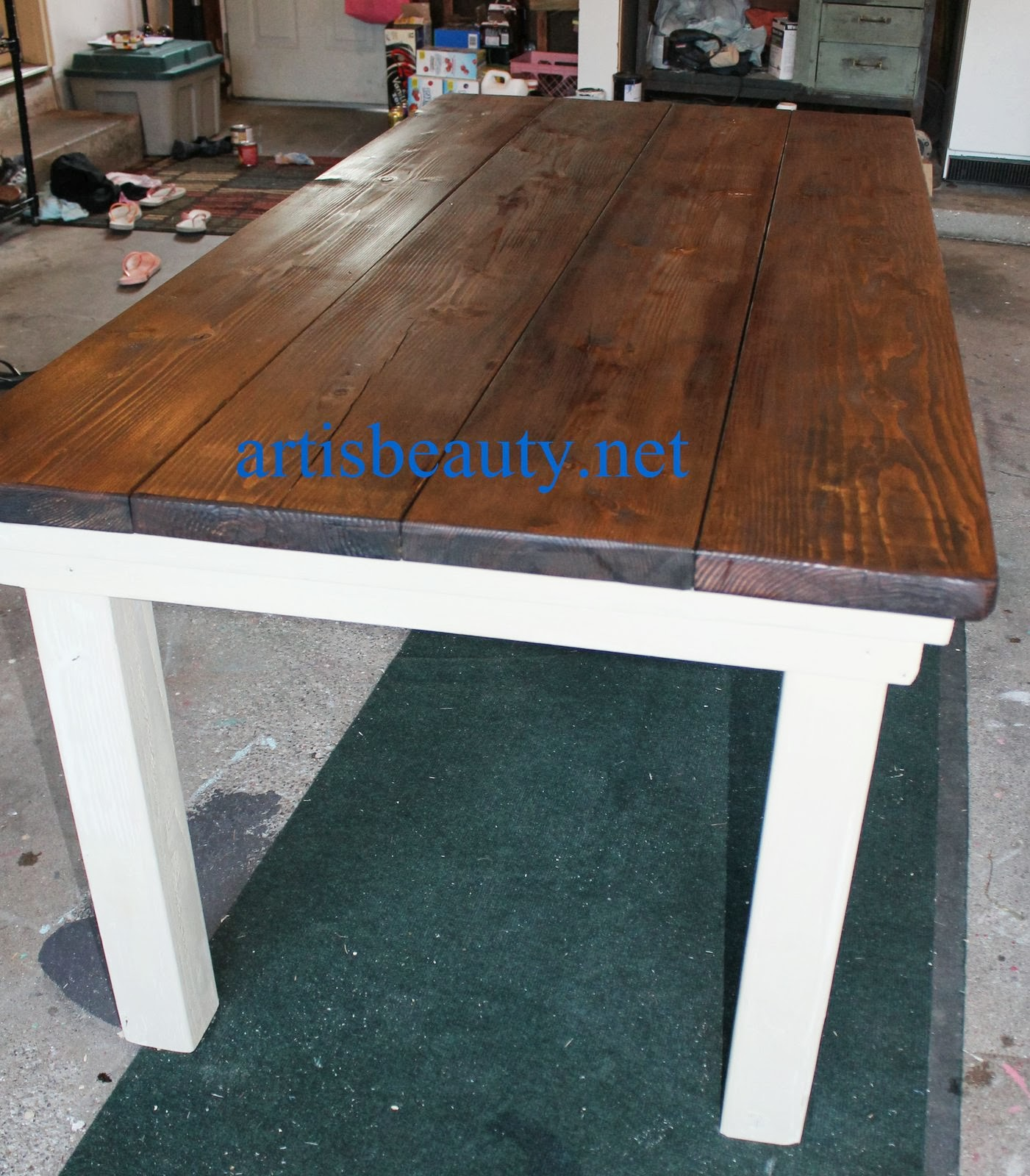 Diy Farmhouse Table With Provincial Stained Top And CeCe Caldwell Chalk  Painted Legs, Featured On Amazing Design