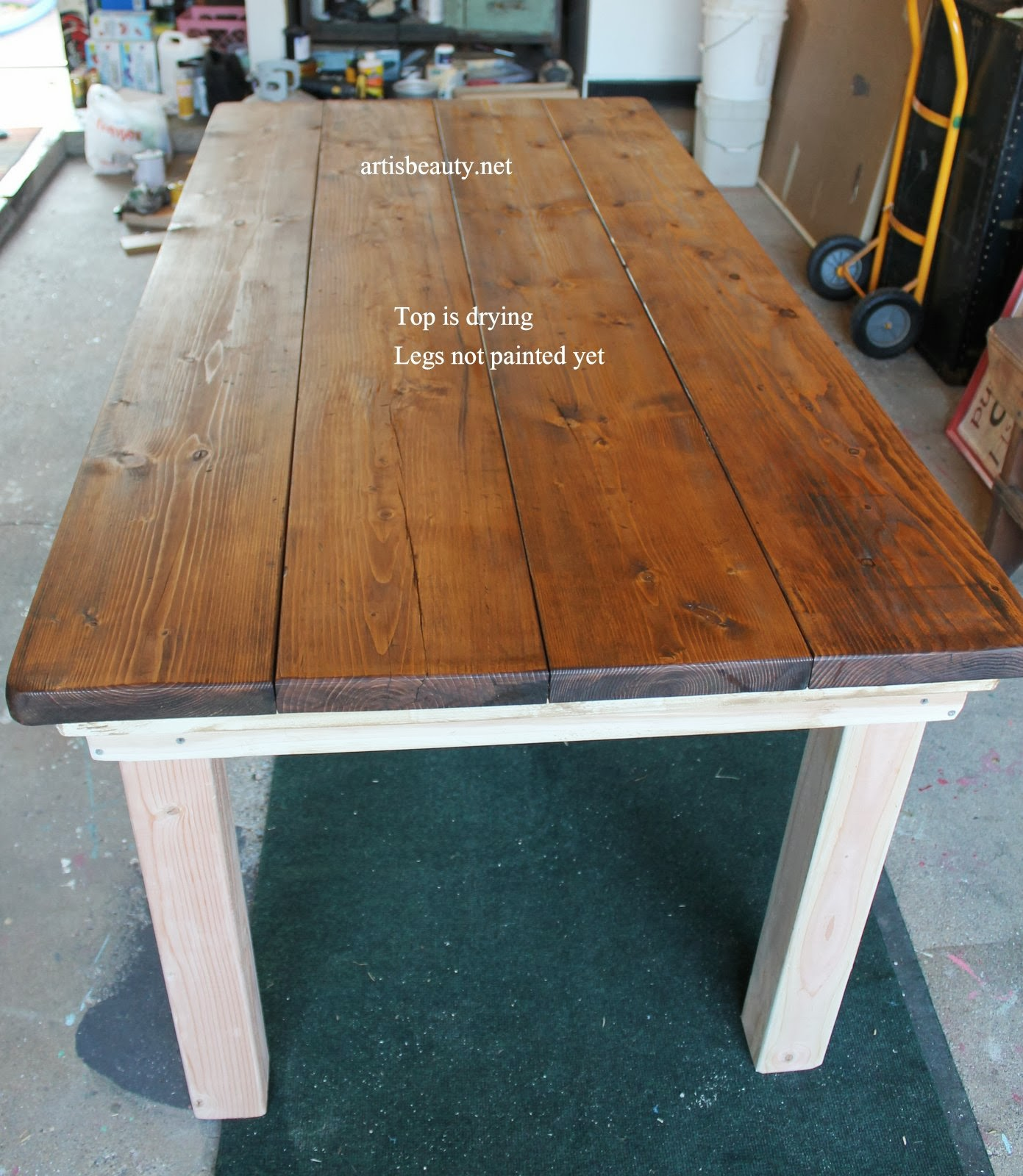 Diy Farmhouse Table With Provincial Stained Top Featured On Remodelaholic