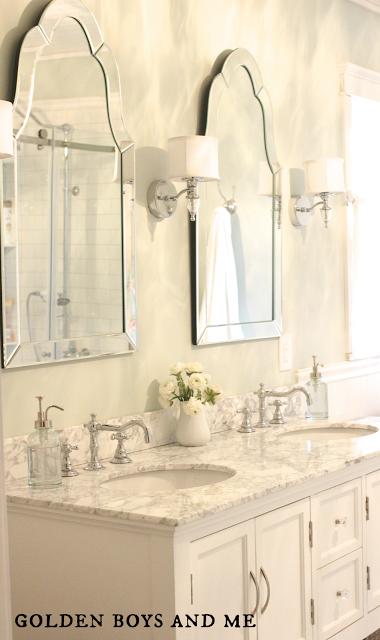 Remodelaholic | Elegant Master Bath Remodel with Built-in Shelving