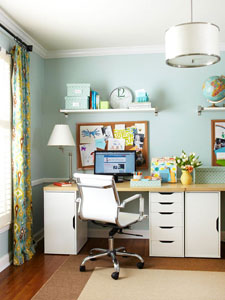 easy home office with wall shelving via Remodelaholic.com
