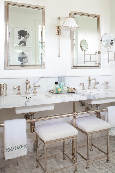 elegant bath with chrome, Anne Hepfer via Remodelaholic.com