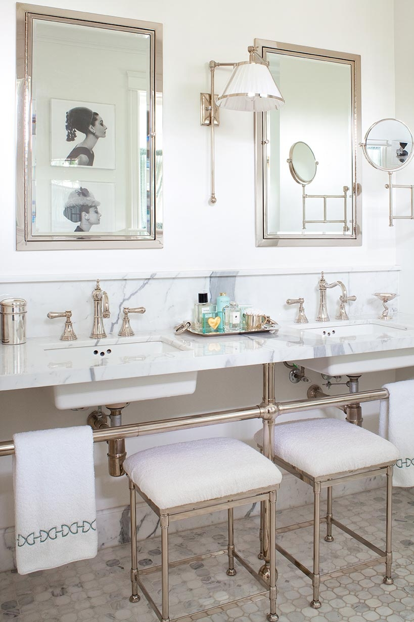 Elegant master bathrooms - Elegant Bath With Chrome Anne Hepfer Via Remodelaholic Com