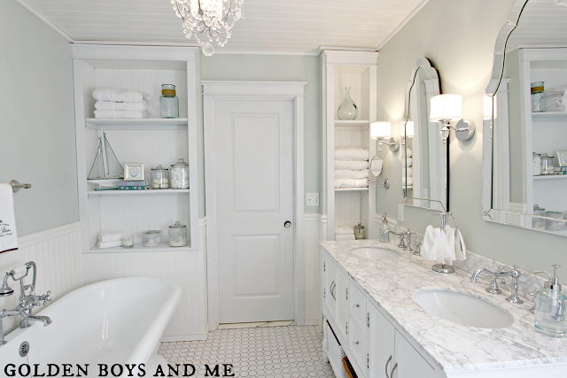 Elegant Master Bath Remodel With Built In Shelving, Featured On  Remodelaholic.com