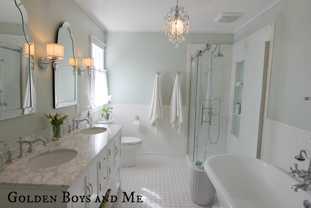 Elegant Master Bath Remodel | featured on Remodelaholic.com #remodel #bathroom #before_and_after @Remodelaholic
