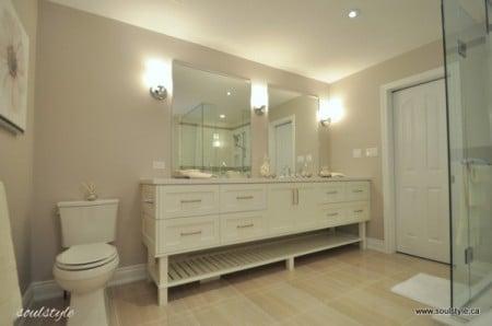 elegant neutral bath renovation, Soul Style featured on Remodelaholic.com