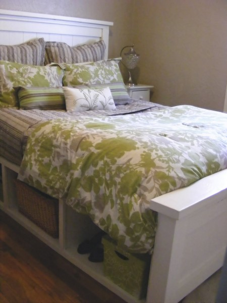 farmhouse bed with storage, Birds and Soap via Remodelaholic.com