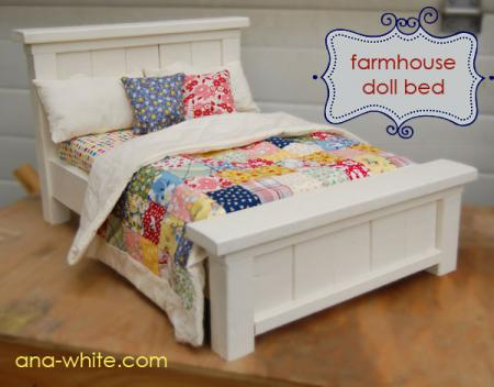 farmhouse doll bed, Ana White via Remodelaholic.com