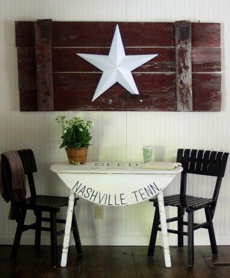 farmhouse stenciled table, The Shabby Creek Cottage via Remodelaholic.com