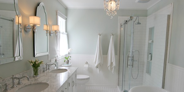 remodelaholic elegant master bath remodel with built in shelving - Remodeling Master Bathroom