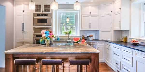 White Country Kitchen Remodel with Marble Backsplash