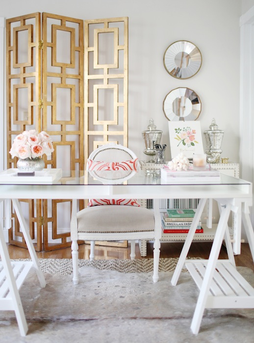 gold room divider screen dallas shaw on poppin - Gold Home Decor