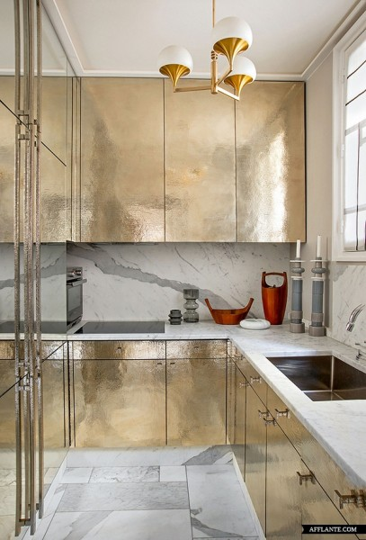 golden kitchen cabinets, Parisian_Apartment_of_Decorator_Jean-Louis_Deniot_afflante