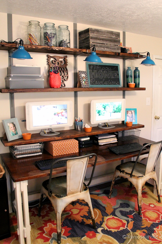Remodelaholic get this look shared home office and homework station Closet home office design ideas