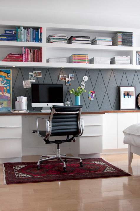 home office wall shelves. Home Office With Built-in Wall Shelving, Jess Loraas On Design Sponge Via Remodelaholic Shelves L